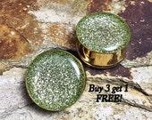 Peridot Glitter Plugs, gauges   6g, 4g, 2g, 0g, 00g, 7/16, 1/2, 9/16, 5/8, 3/4, 7/8, 1 inch