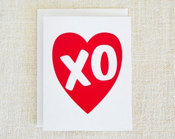 Red, XO, Valentine Card, Valentines Day, Hugs and Kisses, Love Card, Anniversary Card, Wedding Card, Valentines Card, Screen Print, Heart