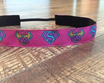 Super Girl headband. Superhero headband, super hero half marathon, running headband, workout headband, girls headband, hair accessory, pink