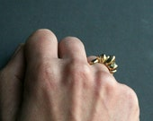 Gold Rising Sun Handcarved Ring - Tribal Jewelry- Made In Solid Yellow Bronze