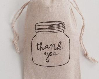 Thank you Jar 3x5 Muslin Favor Bags, Set of 10
