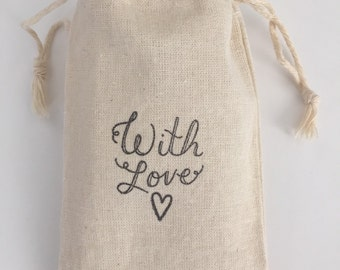 With Love Heart Muslin Wedding Favor Bags, Set of 10 (3x5 shown)