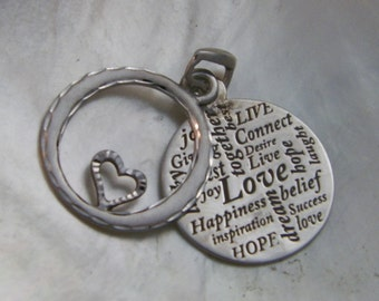 Handcrafted .925 Sterling Silver LOVE Messages Heart Pendant