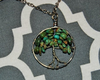 Tree of Life, Green and Brown Turquoise Pebbles