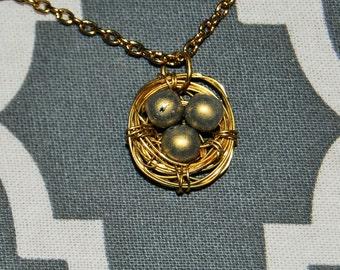 Bird Nest Necklace, Gold Eggs