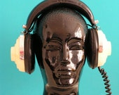 Vintage black glass Mannequin  Head for Display, Hat, Wig Headphones Stand - Home Decor - Space Age