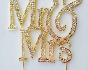 Sparkling Crystal Gold Wedding Cake Toppers Mr. & Mrs Silhouette Bling Cake Topper