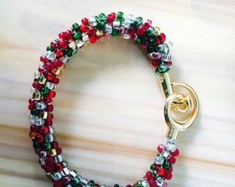Christmas kumihimo beaded bracelet