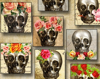 Skulls 1 inch square vintage Halloween digital collage sheet inchies printable images instant download for pendants jewelry