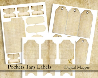 printable journal pockets tags tabs old paper antique digital journal add on ephemera collage sheets journaling instant download scrapbook
