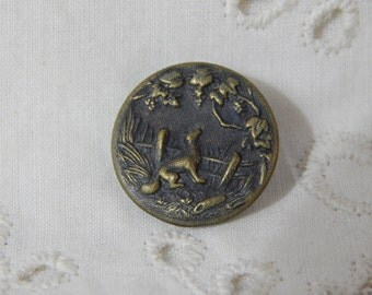 Fox and the Grapes -Fable Story Antique Picture Button