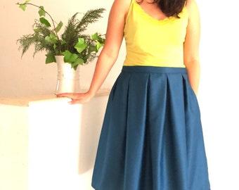 Bulky skirt midi smart trend blue large folds pockets, mid--long skirt casual blue