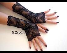 Elegant Lolita Gothic Stylish Stretchy Black Flower Lace Victorian Sexy Fingerless Gloves / Arm Warmers