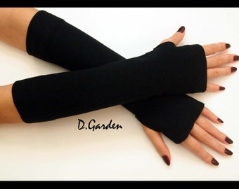 Black Cotton Strechy Knitted Soft Fingerless Arm Warmers Great For Party and Prom - BLK004