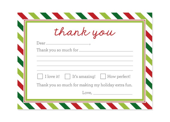Christmas Thank You Cards Printable Kids Fill In the Blank – Christmas Thank You Cards