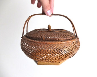 Vintage chinese wicker and bamboo basket / storage, 1970s