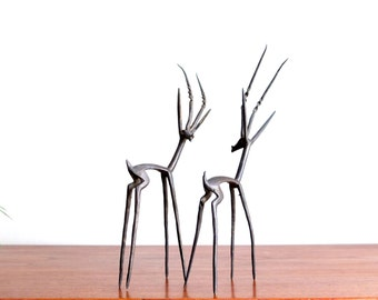 Pair of brass gazelle / antelope, 1970s