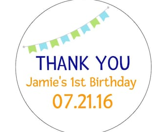 12 Boy Bunting Stickers, First Birthday, Bunting Stickers, Birthday Labels, First Birthday Stickers, Personalized Labels, Birthday Favors