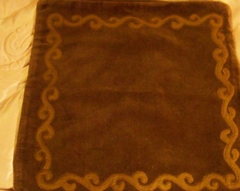 Chocolate Brown Velour Pillow Cover / Pillow Case - 16'' X 16'' - Cecelia-Marie - 154