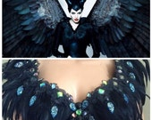 Malificent Inspired with Black Crow on the Shoulder in Your Size -Halloween,EDC, Rave,Dance, Disney Costume.