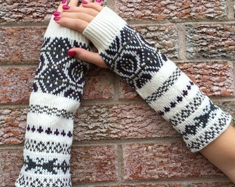 Long beige patterned fingerless gloves, Synthetic Arm warmers, Texting gloves, made from a recycled acrylic cream patterned sweater