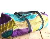 Sports shape in wax (African fabric) duffel bag