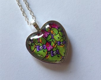 Zombie Kitty Glass Cameo Necklace