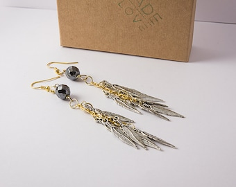 """Special order (ashley)- Handmade Two Tone Boho Gold Earrings with Silver Feathers (4"""" long)"""