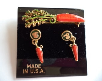 Vintage Signed Danecraft Goldtone Carrot Brooch/Pin and Earring Set
