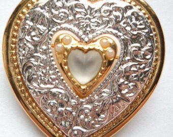 Vintage Signed Danecraft Silvertone/Goldtone Heart Brooch/Pin