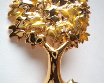 Vintage Signed Danecraft Goldtone Tree Brooch/Pin