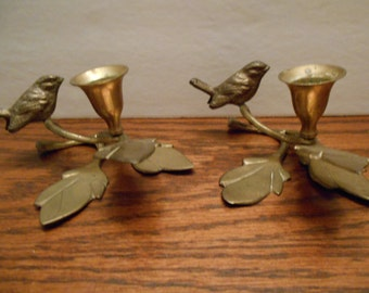 Solid Brass Bird Candle Holders Set of Two