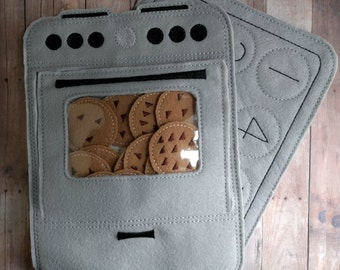 Cookie Number Matching Game, Embroidered Acrylic Felt, Cookies, Cookie Sheet and Felt Oven, Educational Preschool Game, Made in USA