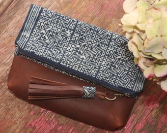 The Nicole - Shibori Indigo Fold Over Everyday Leather Clutch or Crossbody