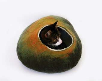 Larger size Cat Bed Cave Cocoon House Autumn fall with Free Cat Ball
