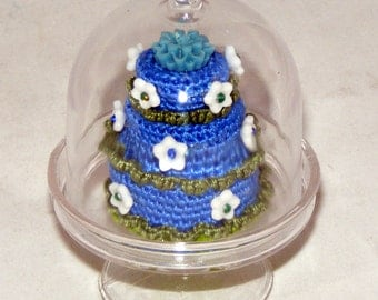 """1:6, Miniature Cake Plate w/Cover, 3"""", Party Favors, Dessert, Wedding, Cakes"""