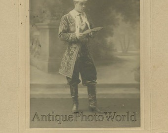 Handsome actor costume Brussels Belgium antique photo