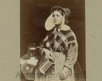 Girl in ethnic costume Belgium antique photo