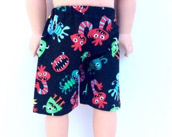 18 Inch Boy Doll Shorts, Monster Shorts, Boy Doll Clothes, Summer Doll Clothes