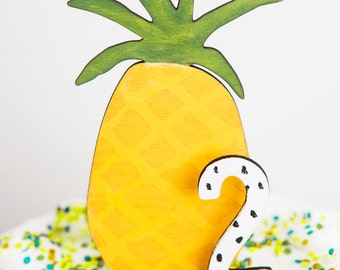 Pineapple Party Cake Topper Wood Laser Cut made to match Pineapple Birthday Party Invitation