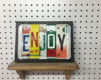 License Plate Sign License Plate letter Art Picture Home Deco ENJOY License Plate Letter Sign