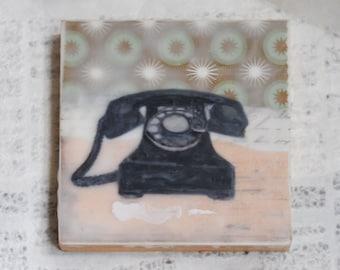 Retro, Vintage Inspired Home Decor: Rotary Dial Phone Encaustic