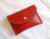 Red Leather Wallet With Pigskin Leather Lining Coin/Card Purse/Pouch