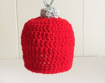 Crochet Baby Hat, Christmas Hat, Ornament Cap, 3 month size, Knit Beanie, Photo Prop, Gender Neutral, Baby Shower Gift, Ready to Ship