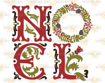Ornate Noel svg SVG File SVG files Cutting file Cut files Christmas svg Holiday svg  Silhouette svg Cricut svg eps dxf French Country