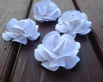 White paper roses, Wedding or Special Occassion Flower placement cards