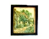 Vintage Framed Print English Cottage, Thatched Roof, English Garden Framed Print, Cottage Chic Decor, Home Sweet Home