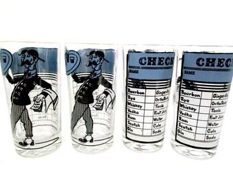 Retro Barware, Set of 4 Highballs, Mid Century Barware, Waiter and Check, Blue Black Barware, Bar Decor, Mad Men, Man Cave