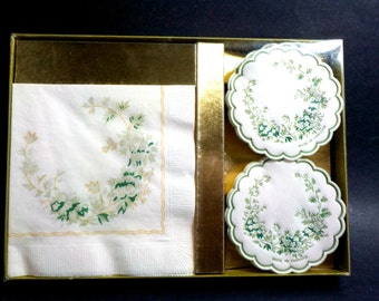 Napkin and Coaster Hostess Set, House Warming Gift, Hostess Gift, Floral Gold Trim Napkins, Scalloped Floral Coasters, Original Box, England