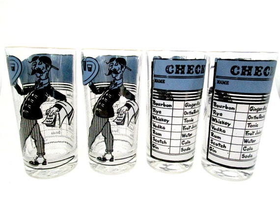 Retro Barware, Set of 4 Highballs, Mid Century Barware, Waiter and Check, Blue Black Barware, Bar Decor, Mad Men, Man Cave, 2 Sets Avail